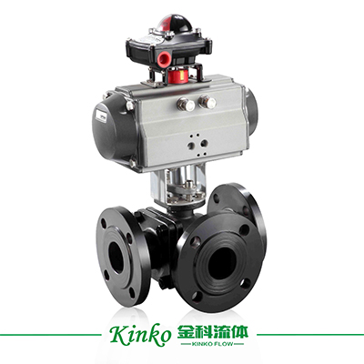 Pneumatic Flanged Three Way Ball Valve